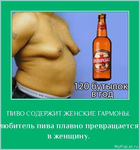 ПИВО СОДЕРЖИТ ЖЕНСКИЕ ГАРМОНЫ.  любитель пива плавно превращается в женщину.