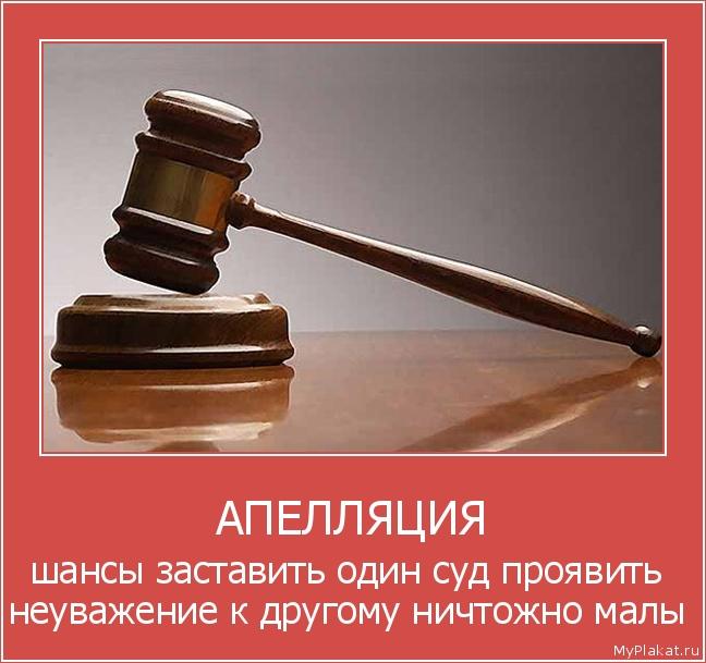 АПЕЛЛЯЦИЯ шансы заставить один суд проявить неуважение к другому ничтожно малы