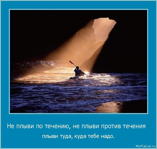 Не плыви по течению, не плыви против течения   плыви туда, куда тебе надо.