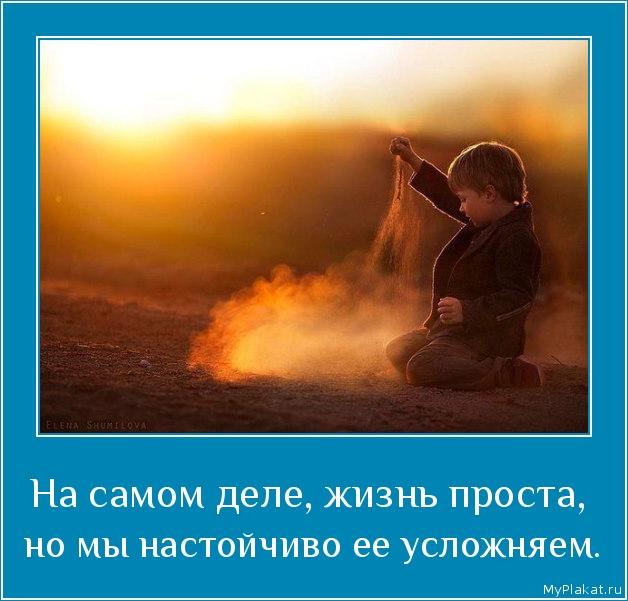 На самом деле, жизнь проста,  но мы настойчиво её усложняем.