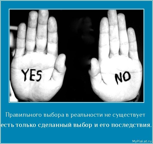 Правильного выбора в реальности не существует   есть только сделанный выбор и его последствия.