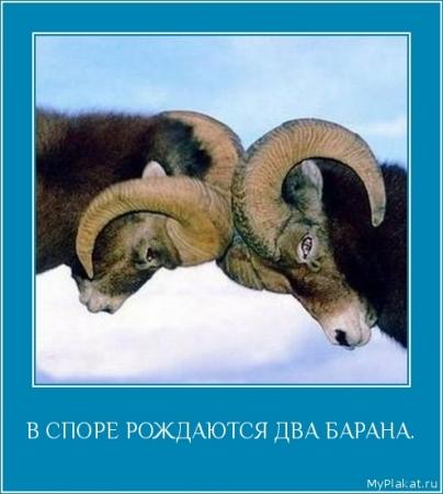 В СПОРЕ РОЖДАЮТСЯ ДВА БАРАНА.